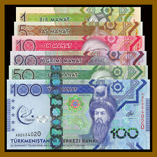 Turkmenistan 1 5 10 20 50 100 Manat (6 Pcs Full Set), 2017 P-36/37/38/39/40/41
