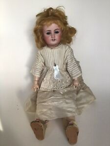 """ANTIQUE LIMOGES FRANCE BISQUE HEAD DOLL 17"""" TALL"""