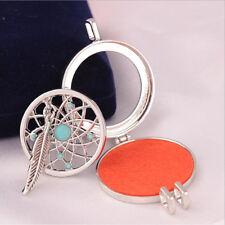 Silver Vintage Style Leaf Sun 3 Perfume Pads Long Bottle Pendant Necklace N535