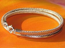 Ladies Rose Gold Nappa leather & sterling silver bracelet by Lyme Bay Art