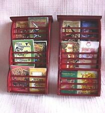2 Miniature WALL MOUNTED MAGAZINE RACKS & BOOKS Mahogany 12th Doll House