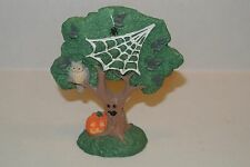 Creepy Hollow Tree with black Spiders, Webs Owl Pumpkins Dept 56 Lemax Halloween