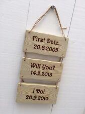 Handmade Personalised Rustic Wooden Wedding Anniversary Valentine's Sign Plaque