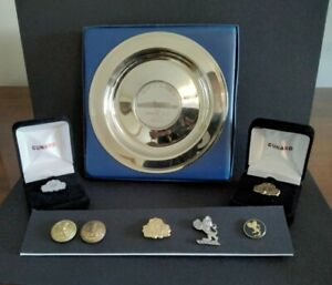 Cunard Line Lapel Pin Set Gold, Platinum, Diamond, Lion, QE2 Dish & 2 Buttons