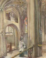 Mid 20th Century Watercolour - St. Mary's Church, Putney