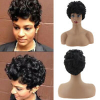Black Short Afro Wavy Full Wigs Synthetic Hair for African American Women Party