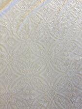 "White Lili Burnout Damask Geometric Stretch Velvet Fabric -Sold By The Yard- 60"""