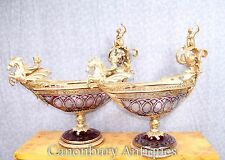 Pair Empire Cut Glass Tureens Dishes Boats Ormolu Cherubs