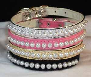 """Pearl """"elegant necklace look"""" DOG Collars Designer handcrafted Small Pet CUTE!"""