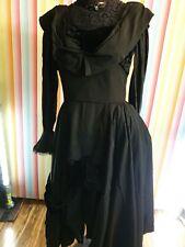 Long Black Gothic Lace Top Dress Split front  Vintage