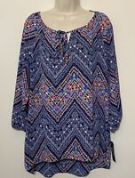 NWT Zac Rachel Large Tunic Blouse Blue Pink 3/4 Sleeve Tassle Scoop Neck
