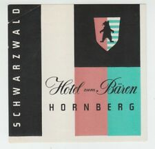 [65479] OLD ADVERTISING LABEL HOTEL zum BAREN, HORNBERG, SCHWARZWALD