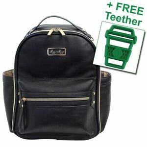 Itzy Ritzy® Diaper Bag Backpack Mini Black FREE Latte Teether