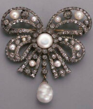 Diamond 4.60ct Pearl Tie Design Brooch Hand-Made Natural Silver Antique Rose Cut