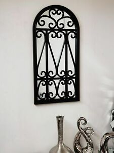 Stylish Window Mirror black Decor Wall livingroom garden hallway flowery 71X35Cm