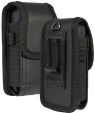 Black Vegan Leather Case Pouch Belt Loop Clip for Sonim XP3 (XP3800) Flip Phone