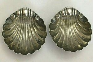 Pair Victorian Sterling Silver Shell Shaped Table Salts 1893