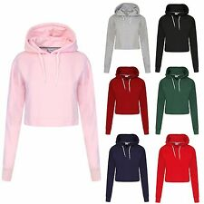 Womens Ladies Crop Top Hoodie Plain Pullover Sweatshirts Hoodies Jumpers XS-L