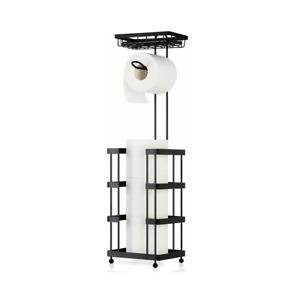 Toilet Paper Holder Stand Tissue Paper Roll Dispenser with Shelf for Bathroom