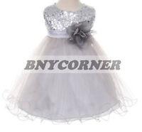 Navy Blue Flower Girls Velvet Dress Christmas Pageant Wedding Easter Party 773