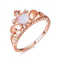 Fashion Size6-10 Queen Rose Gold Heart Cut White Fire Opal CZ Crown Wedding Ring