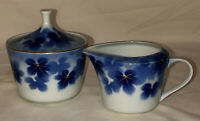 "Japan * AMISH BLUE*LEAH* 3"" CREAMER & SUGAR W/LID*"