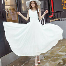 Women Chiffon Maxi Beach Sleeveless Bridesmaid Party Cocktail Prom Long Dress CA