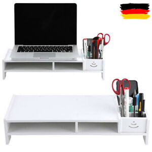 Monitorständer Schreibtischaufsatz Monitorerhöhung Bildschirm Ständer Weiß DHL