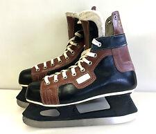 RARE used HeilongJiang 黑龙江 ice hockey skates leather senior size 7 black vtg