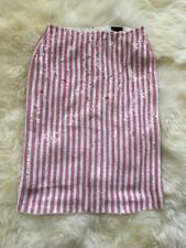 New J Crew Collection Striped Sequin Skirt Punk White Sz 2 G3573