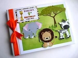 Personalised safari birthday guest book, safari birthday album, gift