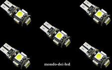 5x lampada luci posizione t10 hyper led 5 SMD CANBUS NO-ERROR rosse auto