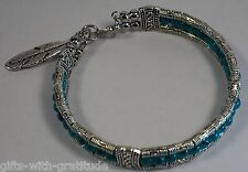 Tribal Bracelet Bangle Women's Gift Blue Bead Silver Tone Feather 60mm