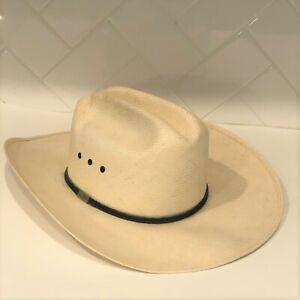 "Resistol George Strait Cowboy Hat Straw Long Oval 7 1/8"" Self Conforming"