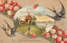 Swallows & Four-Leaf Clovers by Scene of Cottage on a River-Old Eas Postcard