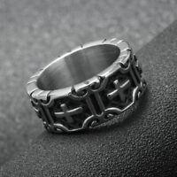 Men's Cross Knights Templars Stainless Steel Ring Biker Gothic Rock Punk Jewelry