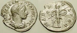 005. Roman Silver Coin. SEVERUS ALEXANDER, AR Denarius. Rome. Mars. VF