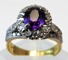 Ring Amethyst Yellow Gold 18k Vintage & Antique Jewellery