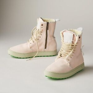 Satorisan Canta Boot high top suede Pebbled Leather Shearling Sz 39 Size 8/8.5