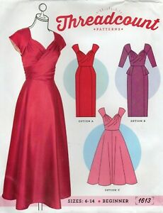 Threadcount Sewing Pattern 1613 Vintage Style Dresses, Beginner, Size 6-14 New
