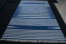 5'x8' Handwoven Fine Blue & White Reversible Cotton Rug Dhurrie Area Rug Kilim