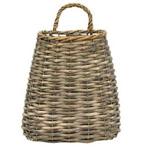 Hanging Basket Gray Washed Finish Woven Willow & Wire 9 inches Country Decor