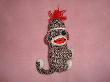 """Sock Monkey hugging Plush with hook  loop closure and wired tail 5.5"""" tall"""
