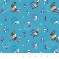 Disney Frozen Olaf and Sven Teal Camelot 100% cotton fabric by the yard