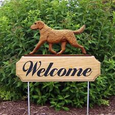 Chesapeake Bay Retriever Dog Breed Oak Wood Welcome Outdoor Yard Sign