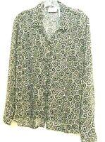 Liz Clairbone Women Blouse White & Black Long Sleeve Button Down Soft Cloth Sz M