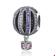 Hot air balloon European CZ Crystal Charm Silver Beads Fit Necklace Bracelet NEW