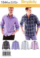 Simplicity Sewing Pattern 1544 Men's 34-42 Shirts Western shirt pockets