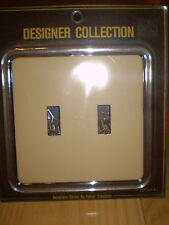 GENUINE ACRYLIC & BEIGE  DOUBLE LIGHT SWITCH PLATE OUTLET COVER