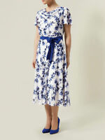 New Jacques Vert dress 14 16 Chiffon Blue White floral Flute Fit & Flare £169